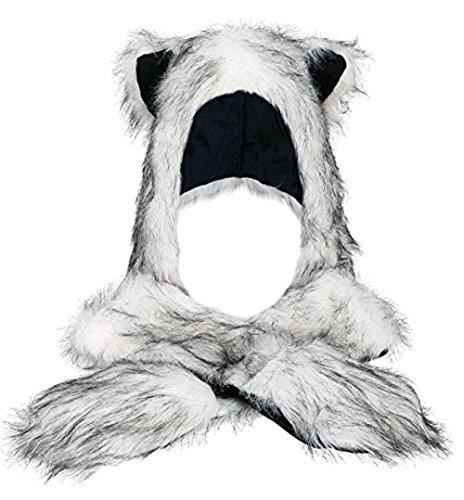 LATH.PIN Fell-Mütze mit Handschuh-Schal Plüschmütze Tiermütze Plüschtier Kapuzenschal Ohren mit Handschuhe Schal Kunstfell Winter