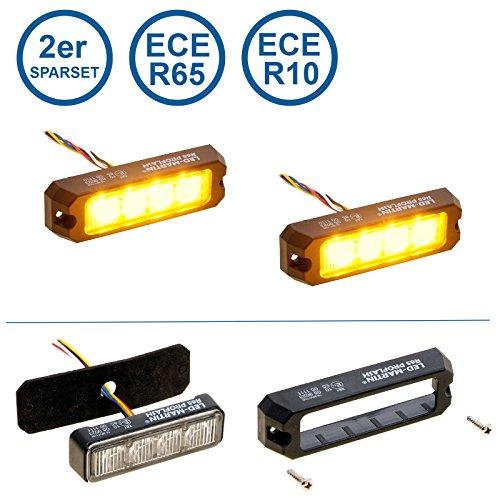 LED-MARTIN 2er Sparset R65 PROFLASH gelb - Frontblitzer - Straßenräumer -Blitzmodul - Pannendienst - Schwertransport - LKW
