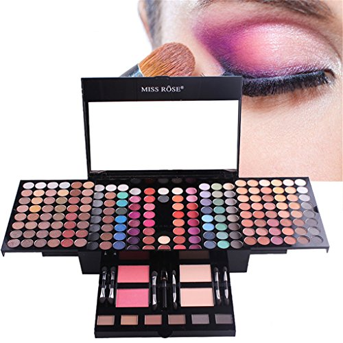 RoseFlower Pro 180 Colors Eyeshadow Makeup Palette Cosemetic Contouring Kit Combination with 2 Face Powder, 2 Blusher and 6 Repair powder