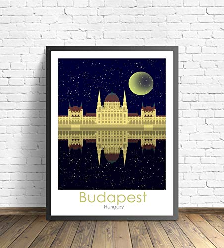 VinMea Budapest Travel Poster Print, Hungary Travel Gift Budapest Travel Print Budapest Minimalist Artwork Budapest Travel Poster Unframed Art Print Paper Poster Wall Decor, 16 x 24 Inches