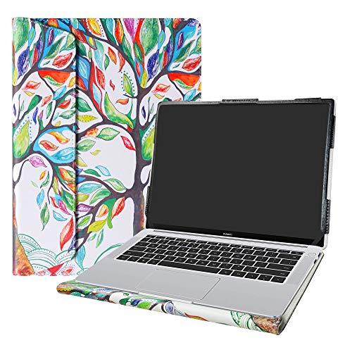"""Alapmk Diseñado Especialmente La Funda Protectora de Cuero de PU para 14"""" Huawei Matebook 14 Ordenador portátil(Not fit Huawei Matebook X/Matebook D/Matebook X Pro),Love Tree"""