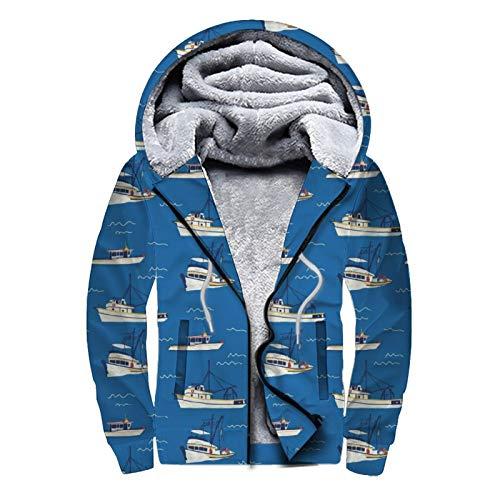 UNSUWU Nautical Style Waves Sails Blue Women's Pullover Winter Workout Fleece Hoodie Jackets Full Zip Wool Warm Thick Coats Sherpa Lined Hooded Sweatshirt for Men Boy, L