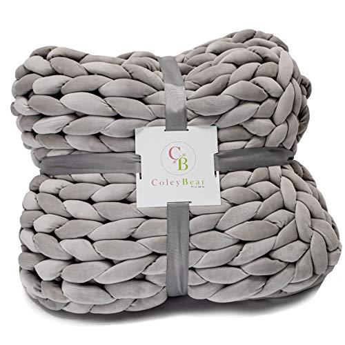 ColeyBear ponderado manta tejida de punto grueso del hilado por boho hogar y la decoración del dormitorio, que no suelte, poliéster shell y llenado, el tamaño de la reina 60x 80,14 libras (gris claro)