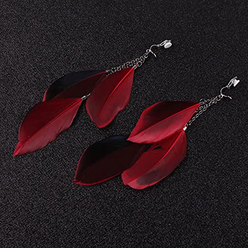 SALAN Joyería De Fiesta Femenina Sexy Rojo Atractivo Clip De Pluma En Pendientes Favorito Sin Perforado Elegante Clip De Oreja para Mujer