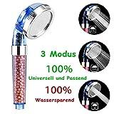 Newdora Duschkopf Handbrause wassersparend mit Druckerhöhung für mehr Wasserdruck Mit Kalkfilter...