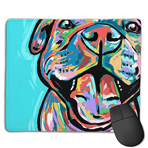 Teesofun Unique Mouse Pad Cute Pit Bull Painting Rectangle Rubber Mousepad 8.66 X 7.09 Inch Non-Slip Gaming Mouse Pad