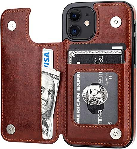 Compatible iPhone 12 Mini Billetera Cubierta Protectora, Soporte De Tarjetas, Ranura De Tarjeta De Soporte De Cuero PU, Hebilla Magnética Doble Y Duradero A Prueba De Golpes De 5,4 Pulgadas (Negro)