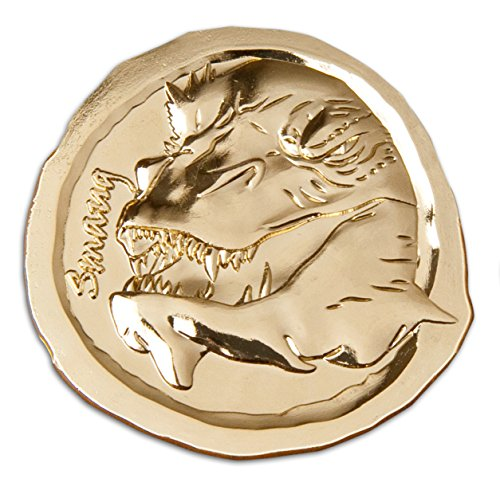 Der Hobbit Sammelmünze Smaug Drache Motiv 4 von 14 aus exklusiver Sammeledition zur Schlacht der fünf Heere in Samtsäckchen goldfarbige Legierung Ø4,7cm
