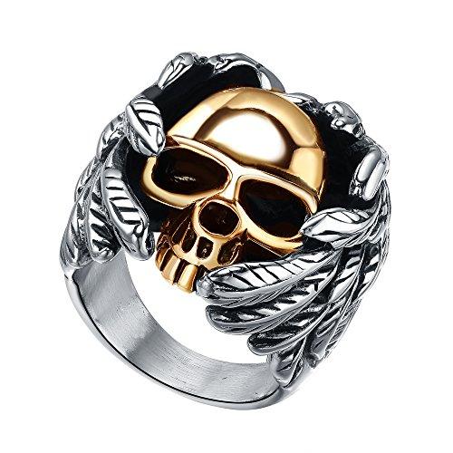 Anello in acciaio inossidabile Uomo, colore oro Teschio alato, gotico, Biker