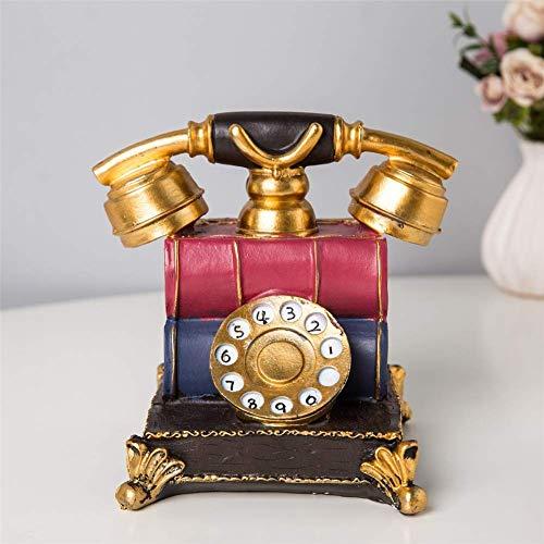 Nfudishpu Dial Telephones Ornament, Retro Landline Desk Teléfono Teléfono Decoración para el hogar y decoración, B