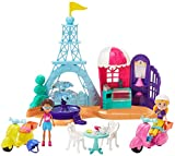 Polly Pocket Perfectly Paris Playset with 3-in Polly and Shani Dolls, 2 Scooters, 2 Helmets, Eiffel Tower, Fountain, Cafe, Table & 2 Chairs; for Ages 4 Years Old & Up [Amazon Exclusive]