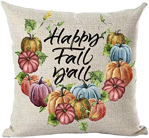 Mesllings - Funda de cojín pintada a mano con pintura al óleo y acuarela colorida calabazas Happy Fall Y'all decorativa, para el hogar, sala de estar, cama, sofá, coche, algodón, lino, cuadrado, 45,7 x 45,7 cm