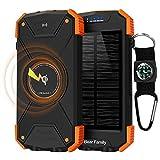 Bear family Qi Wireless Powerbank, Handy-Solarladegeräte, Tragbare Externer Akku 10000mAh mit...