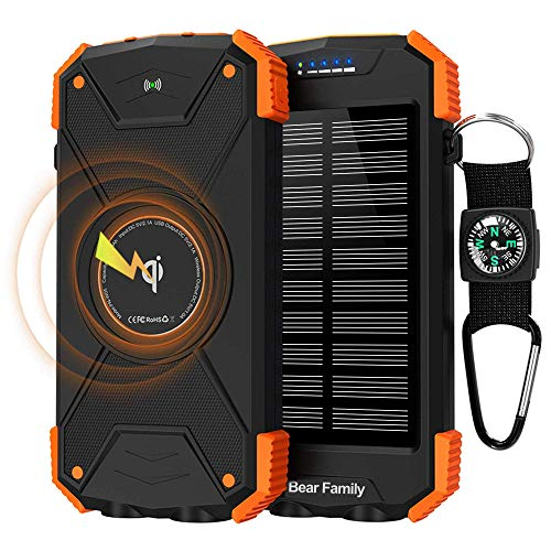 Bear family Qi Wireless Powerbank, Handy-Solarladegeräte, Tragbare Externer Akku 10000mAh mit Type-C Eingang, LED-Taschenlampe, Kompass für iPhone, Huawei und andere Smartphones/Handys (Orange)