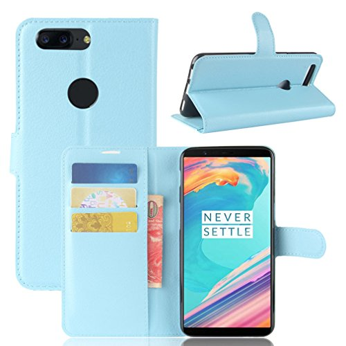 LMAZWUFULM Hülle für OnePlus 5T (6,01 Zoll) PU Leder Magnetverschluss Brieftasche Lederhülle Litschi Muster Standfunktion Ledertasche Flip Cover für OnePlus 5T Blau