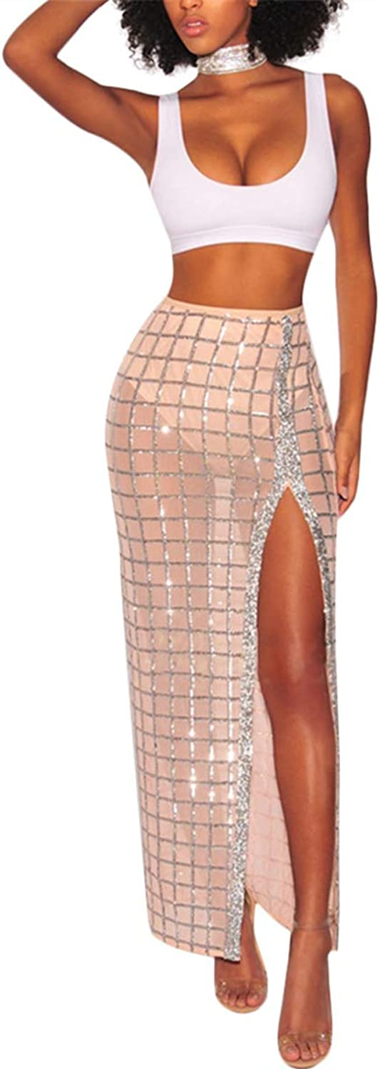 Chemenwin Women's Sexy 2 Piece Outfits Mesh See Through Sequin Side Slit Maxi Skirt Party Club Long Dress