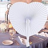 INNOCHEER 60 abanicos de mano, papel y plástico para bodas y fiestas (corazón).
