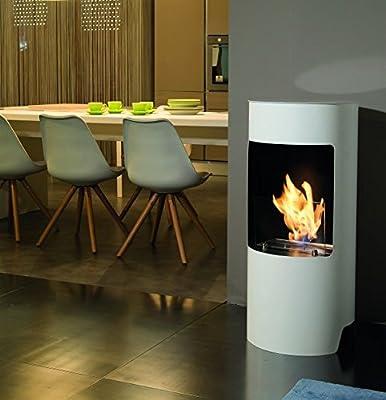 Tecno Air System Cortina Indoor Freestanding Fireplace Bio-Ethanol White–Fireplace (450mm, 450mm, 950mm 23kg)