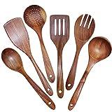 YULIN H?lzerne - Juego de 6 utensilios de cocina antiadherentes, madera de teca natural, espátula, colador l?fel, duradero y sin costuras.