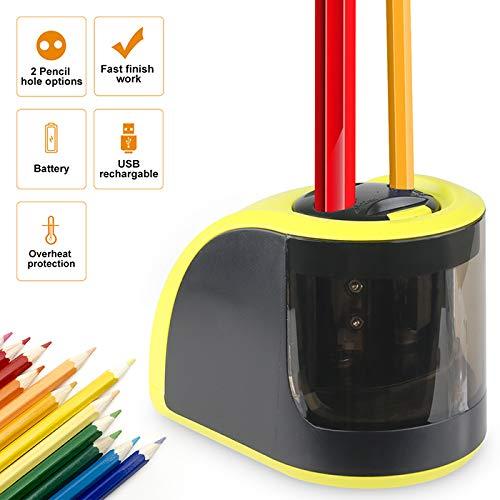 Bleistiftspitzer, batteriebetrieben oder USB-betrieben, Bleistiftspitzer mit Behälter, doppelte Löcher für 6–8 mm und 9–12 mm, Geschenk für Studenten, Kinder, Künstler (gelb)