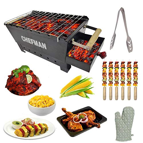 Chefman Charcoal Barbeque Grill Set for Home with 6 skewers, 1 Tong, 1 Gloves (Out Door BBQ)
