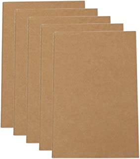 5 Pieces Travel Journal Notebooks Office Kraft Notebooks A5 Lines Notebook- Kraft Brown Soft Cover - A5 Size - 210 mm x 140 mm - 40 Sheets (Squares)