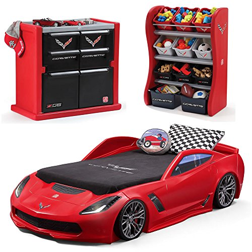 Step2 Corvette Bedroom Combo for Kids - Durable Toddler to Twin Bed, Dresser and Room Organizer for Children Boys