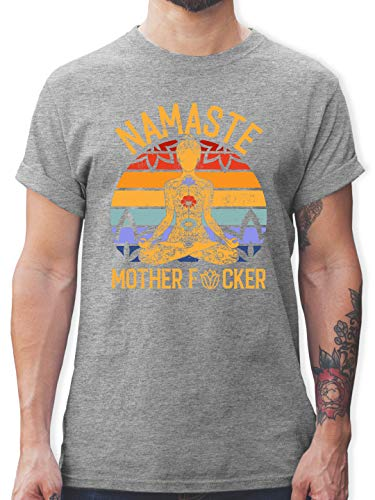 Wellness, Yoga & Co. - Namaste Mother - XL - Grau meliert - Shirt Yoga - L190 - Tshirt Herren und Männer T-Shirts