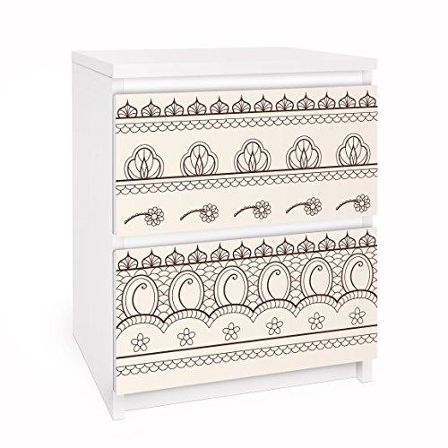 Apalis Möbelfolie für IKEA Malm Kommode Klebefolie Indisches Rapportmuster 2X 20x40cm