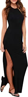 Meenew Womens Party Beach Vacation Solid Bodycon High Slit Long Maxi Dress