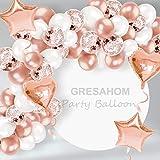 Juego de guirnalda de arco de globo, 103 piezas de látex de oro rosa para decoración de fiesta con globos de papel de corazón para cumpleaños boda, compromiso, baby shower (herramientas incluidas)