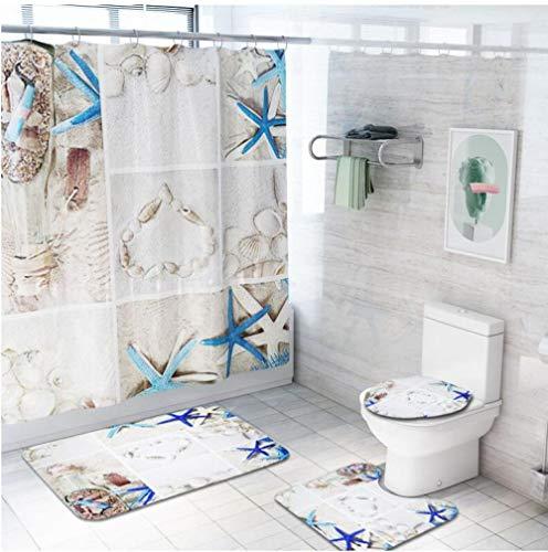 New Year's Gift,4/3/1 Starfishs Print Shower Curtain Carpet Set Toilet SeaBathroom Mat SeBathroom Curtain with 12 Hooks@4 PCS