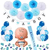 Vibury Baby Shower Garçon décorations, 1 It's a Boy Banniere, 1 XXL Garçon...