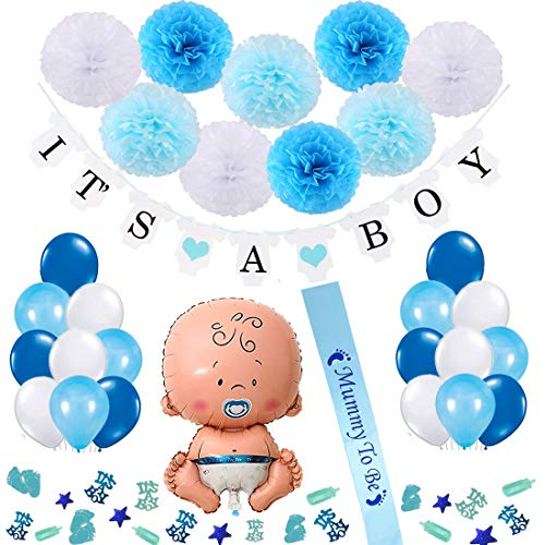 Vibury Baby Shower Decoración, Decoraciones Fiesta de Bienvenida de Bebe Niño Bandera It's A Boy, Baby Shower Globos, 9 Pompones, 18 Globos, Mummy to be Faja y Confeti