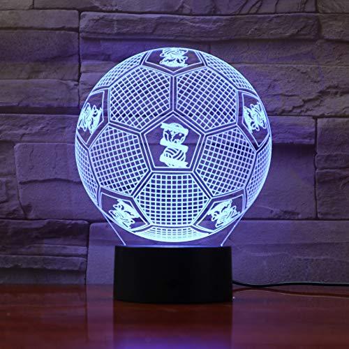 Made Football Team Logo Epacket Service Fußball Nachtlicht 3D LED USB Tischlampe Kinder Geburtstagsgeschenk Nachtzimmer Dekoration