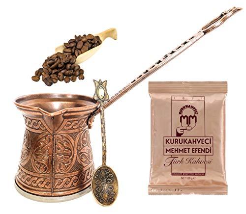 Hochwertiger handgefertigter Kupfertopf geschmiedeter, türkischer Kaffee – heller Stein Kupfer Löffel mit 100 g türkischem Kaffee Cezve – griechisch-armenisch-armenisch-arabischer Kaffeemaschine