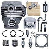 AUMEL 1121 020 1217 44,7 mm Kit de pistón de Cilindro para Stihl 026 MS260 Pieza de Motosierra con Junta de bujía de cojinete de línea de Filtro de Aceite Combustible de Aire.