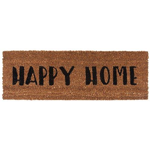 Present Time Felpudo de fibra de coco Happy Home, tamaño pequeño