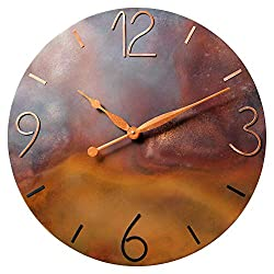 24-inch Oversized Copper Wall Clock - 7th Anniversary Gift - Silent Non Ticking