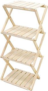 SUGGEST 木製ラック 4段 折り畳み式 天然木 縦横自在 幅41.5×奥行き31×高さ90cm