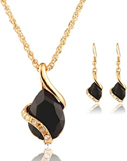 Clearance Sale!Funic 1Set Women's Heart-shaped Crystal Necklace Pendant Drop + Earrings Jewelry Gifts (Black)