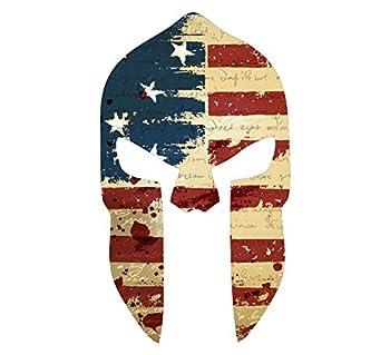 Vintage Flag Style- Spartan Head Vintage USA Flag- WIndow Decal Vinyl Sticker 6