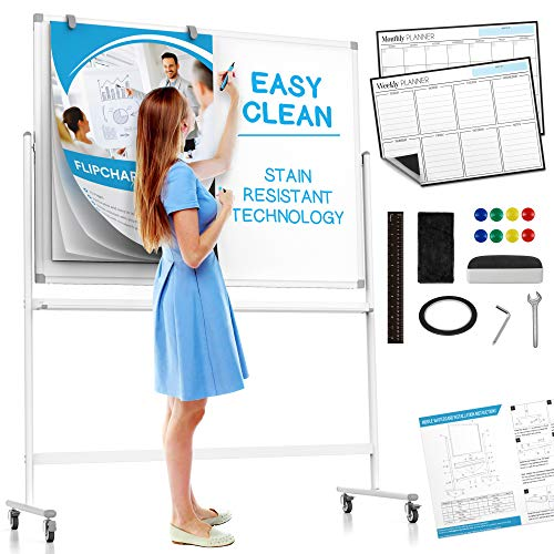 Large Mobile Rolling Whiteboard on Wheels: with Stain Resistant Technology - 48x36 - Includes Big Flipchart Pad and Other Accessories - Portable Double Sided Dry Erase Magnetic White Board with Stand