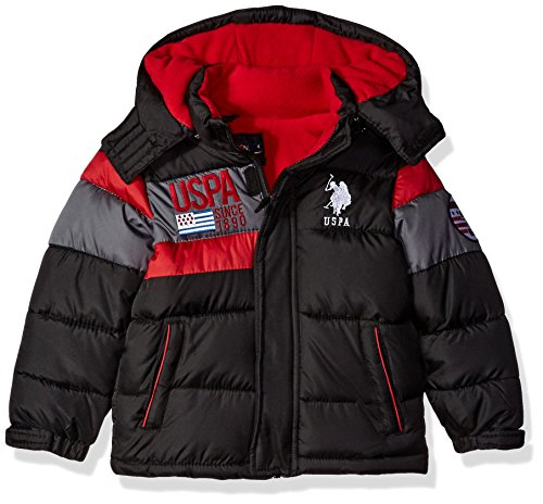 U.S. Polo Assn. Boys' Bubble Jacket (More Styles Available), Black Red Grey, 2T
