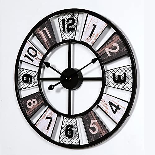 FHTD - Reloj de pared con números árabes, 60 cm, gran silencioso, no se cae, a pilas de cuarzo, colgantes, relojes, decorativos, para casa, bar, cafetería, decoración