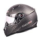 LS2 Casco de motocicleta de fibra de carbono 12K de cara completa CR-2 CT-1