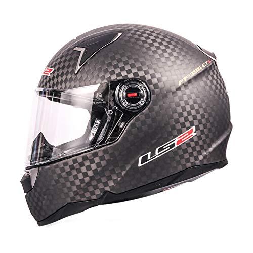 LS2 Casco de Motocicleta de Fibra de Carbono 12K de Cara Completa CR-2