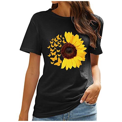 YANFANG Camisas de impresión Casual de Mujer Camiseta Suelta de Manga Corta Blusa túnica,Ropa de Salón para Damas Ropa Informal de Primavera y Verano,Negro, Verde, Vino
