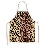 LIUKLAI Grembiule da donna con stampa leopardata cucina casalinga cottura in vita asciugamano posteriore strumento per la pulizia della biancheria 68 * 55 cm strumento di pulizia-A4_47x38 cm