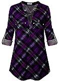 Bulotus Womens Tunics 3/4 Sleeve Plaid Shirts Plus Size Tunic, Black Purple Plaid, X-Large